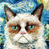 Aja Apa-Soura - Vincent van NO - Cat meets Starry Night (print of original oil painting)
